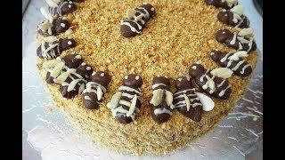 МЕДОВЫЙ ТОРТ РЫЖИК с пчёлами/Honey Cake