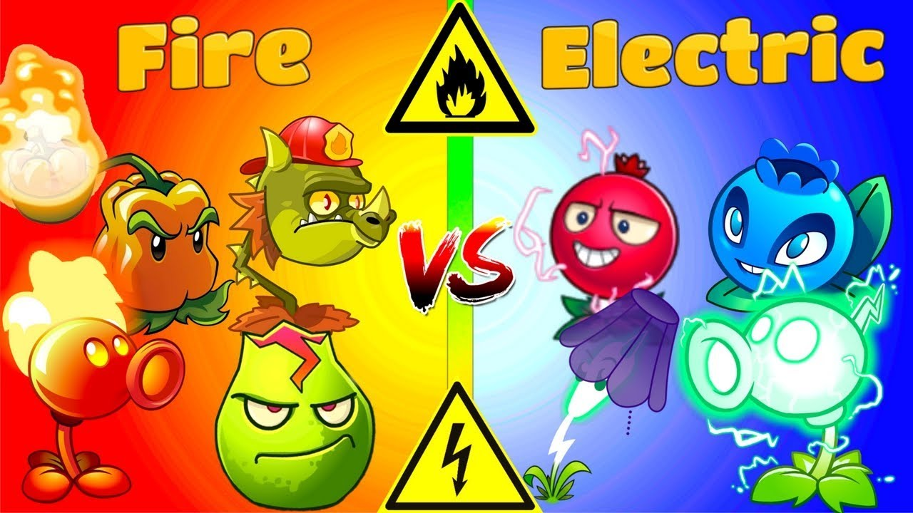 Plants vs Zombies 2 Gameplay Fire Plants vs Electric Plants Challenge Primal PVZ 2 Game - YouTube