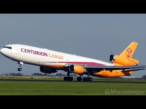 Centurion Cargo McDonnell Douglas MD-11 Steep and Roaring Takeoff from Schiphol   AMS/EHAM
