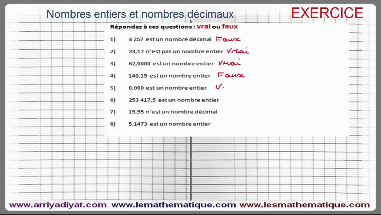 nombres entiers et rationnels 6ème Mathématiques