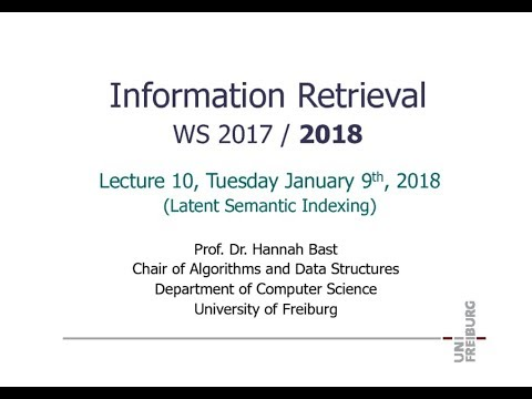 Information Retrieval WS 17/18, Lecture 10: Latent Semantic Indexing