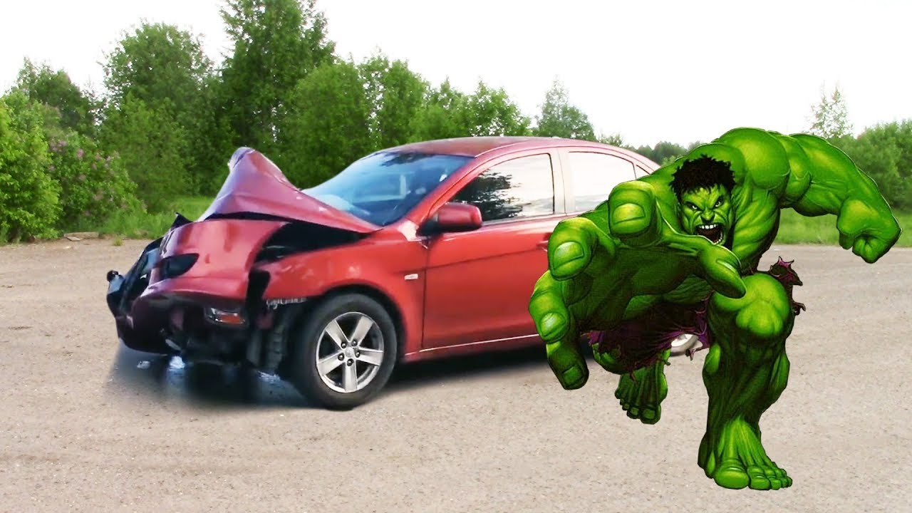Hulk smashes the car. Nerf gun war