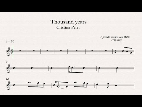 THOUSAND YEARS: Bb inst clarinete,trompeta,saxo soptenorpartitura con playback