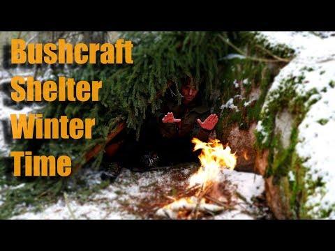 Bushcraft Shelter Winter Time