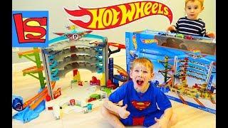 Машинки Хот Вилс Парковка большая распаковка набора Hot wheels