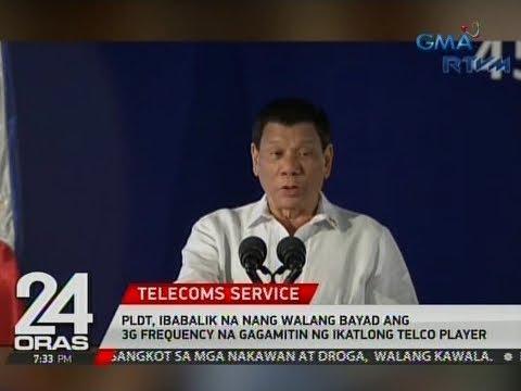 24 Oras: PLDT, ibabalik na nang walang bayad ang 3g frequency na gagamitin ng ikatlong telco player