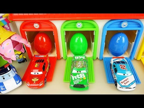 Poli and Cars Surprise eggs with Minions Ice cream car toys play