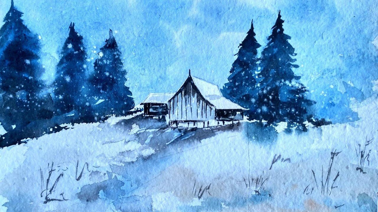 paint watercolor winter