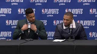 Damian Lillard & CJ McCollum Postgame Interview - Game 7 | Nuggets vs Blazers | 2019 NBA Playoffs