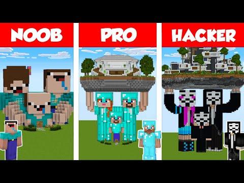 Minecraft NOOB vs PRO vs HACKER: FAMILY STATUE HOUSE BUILD CHALLENGE in Minecraft / Animation