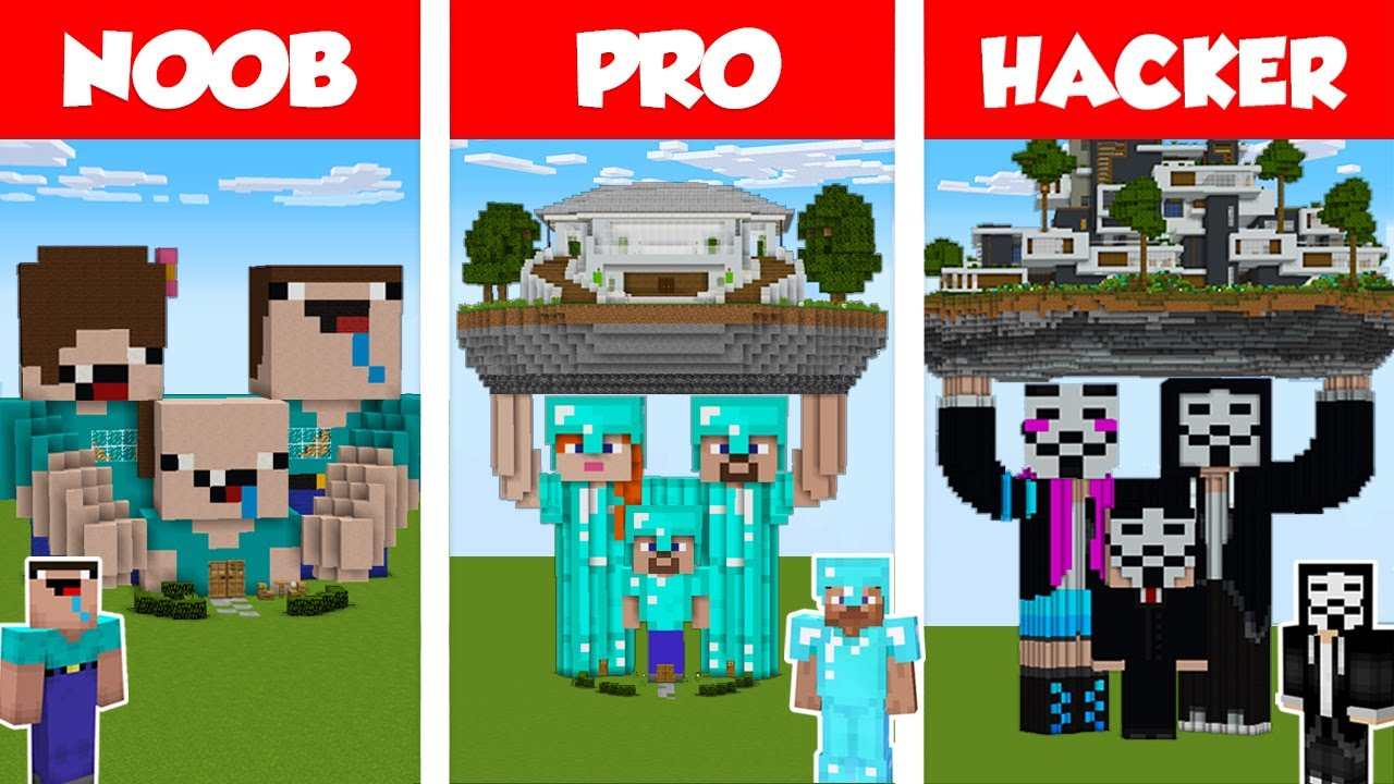 Minecraft NOOB vs PRO vs HACKER: FAMILY STATUE HOUSE BUILD CHALLENGE in Minecraft / Animation