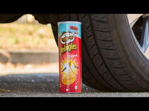 Crushing Crunchy & Soft Things by Car! - EXPERIMENT: CAR VS PRINGLES