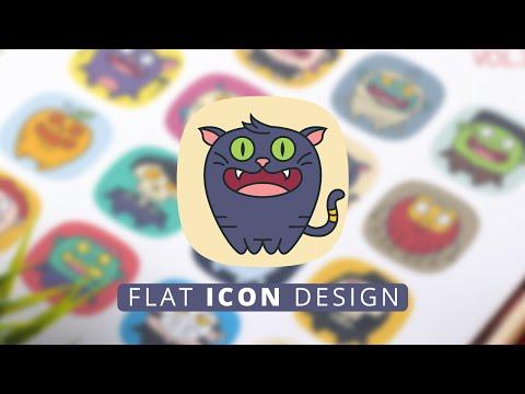 Halloween Flat Icon Style - Illustrator Process