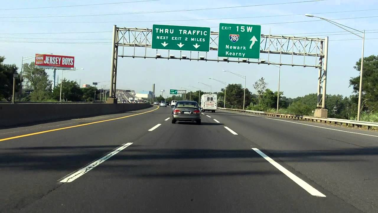 New Jersey Turnpike - Western Spur (Exits 16W, 15W, 15E, 14) southbound