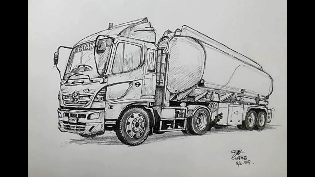 Drawing A Tanker Truk Using A Pen Menggambar Truk Tangki Dengan