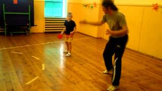 Table Tennis - basic foot work for forehand smash (Summer Camp in Rucava)