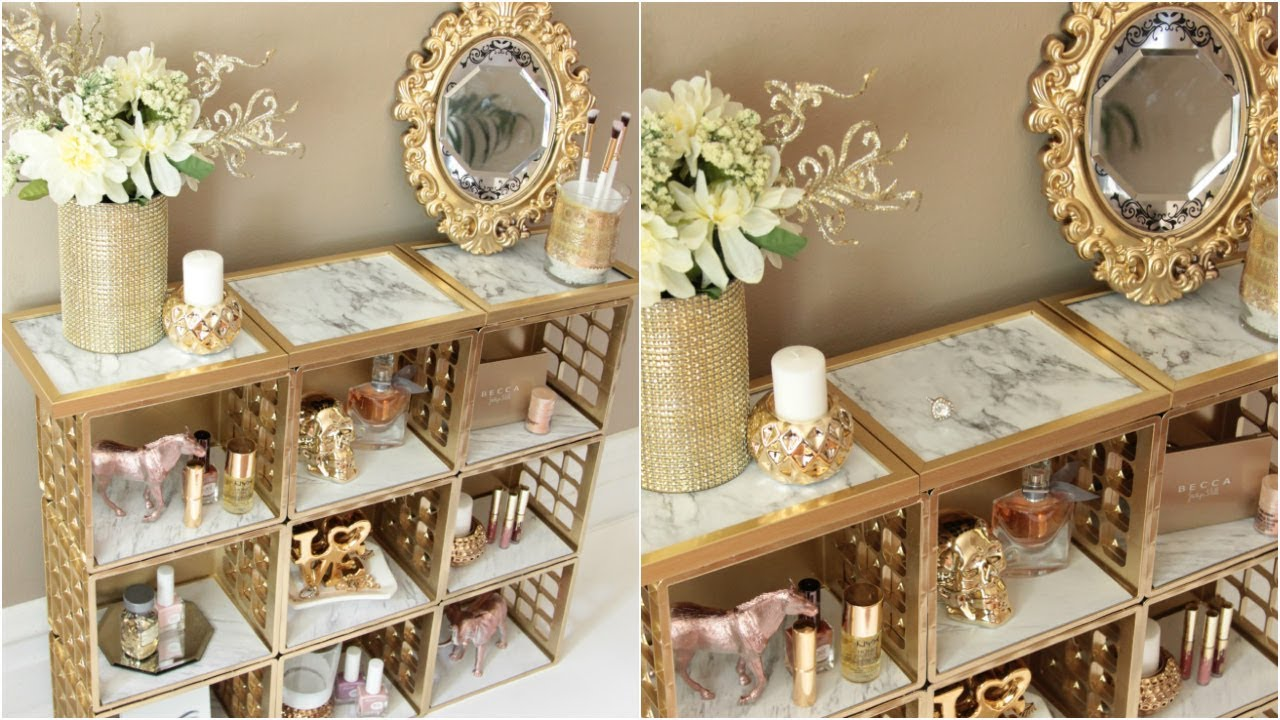 Dollar Tree Marble And Gold Organizer Diy Youtube