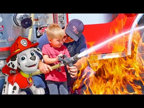 FIRE TRUCK PLAYTIME! Toddler puts out fire with hose!