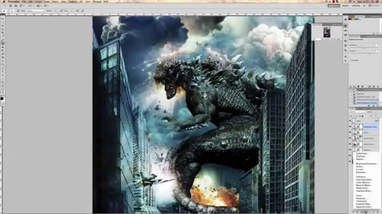 how to make movie poster godzilla 2014 photoshop cs6