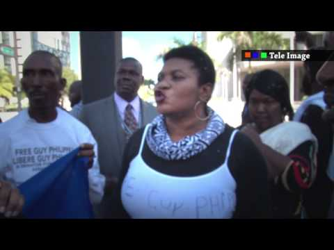 Protest for Guy Philippe in front of Miami Federal Court , statement from his wife