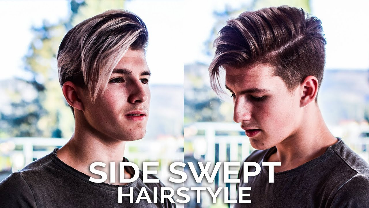 men's hairstyle side swept tutorial