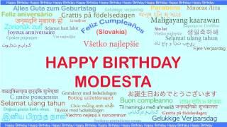 Modesta   Languages Idiomas - Happy Birthday