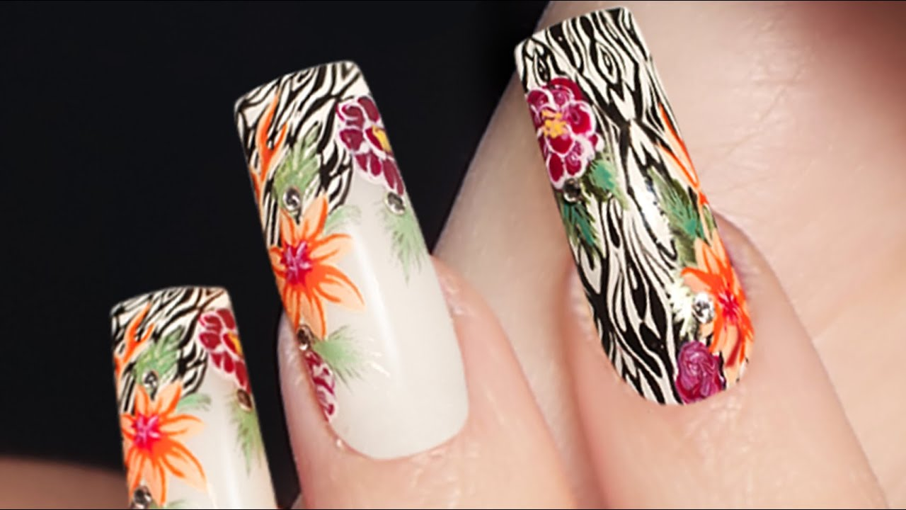 Savage Floral Nail Art . Next Nature . Nails 21 - YouTube