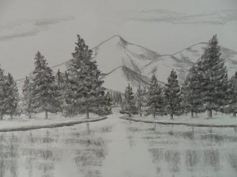 Como Dibujar Un Paisaje A Lapiz Paso A Paso Agua Arboles Pinos