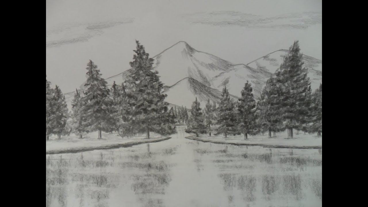 Como Dibujar Un Paisaje A Lápiz Paso A Paso Agua árboles Pinos Y Montañas