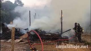 Residência de madeira é destruída por incêndio; cão morre queimado