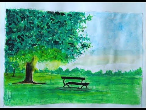 Tree scenery drawing with Water color - step by step