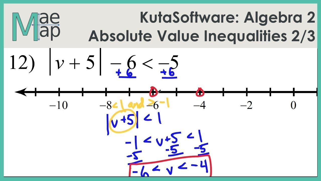 Kutasoftware Algebra 2 Absolute Value Inequalities Part 2 Youtube