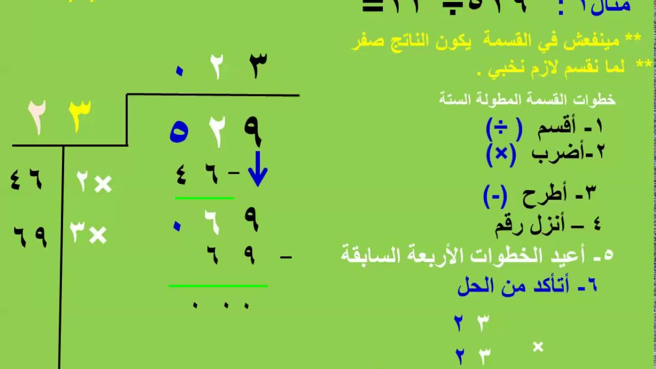 القسمة المطولة على رقمين الجزء الرابع للأستاذ حمدي يوسف معارك موجه الرياضيات محافظة شمال سيناء Youtube