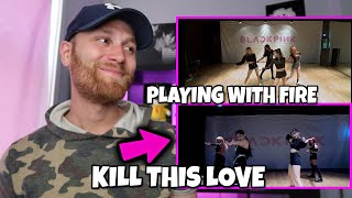 Gambar cover FIRST TIME REACTING TO BLACKPINK - 'Kill This Love' & (PLAYING WITH FIRE)' DANCE PRACTICE VIDEO