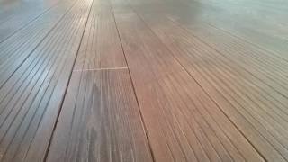 European style grooved face thermally modified wood decking.
