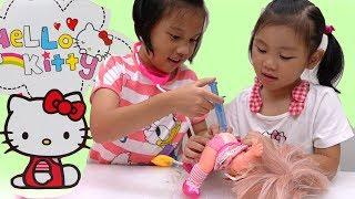 HELLO KITTY 隨身收納醫療箱 漂亮玩美妝箱 醫生遊戲 打扮遊戲玩具 扮家家酒小劇場 玩具開箱一起玩玩具Sunny Yummy Kids TOYs