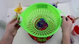 (167) Rainbow Acrylic Pour Through a Colander