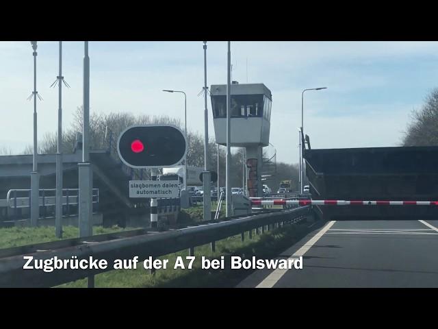 Zugbrücke auf der A7 bei Bolsward