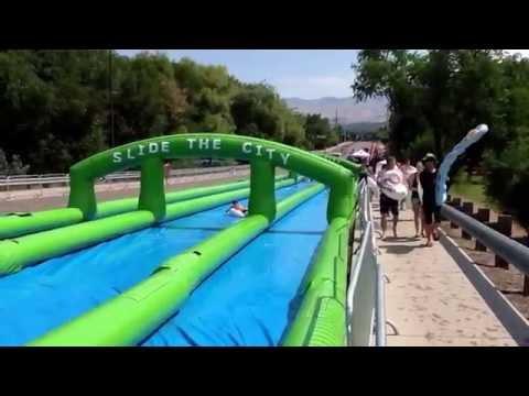 Slide the city. Boise,Idaho. Time lapse. July 4th 2015