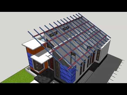 Konstruksi Atap Miring Desain Rumah Minimalis #AM01