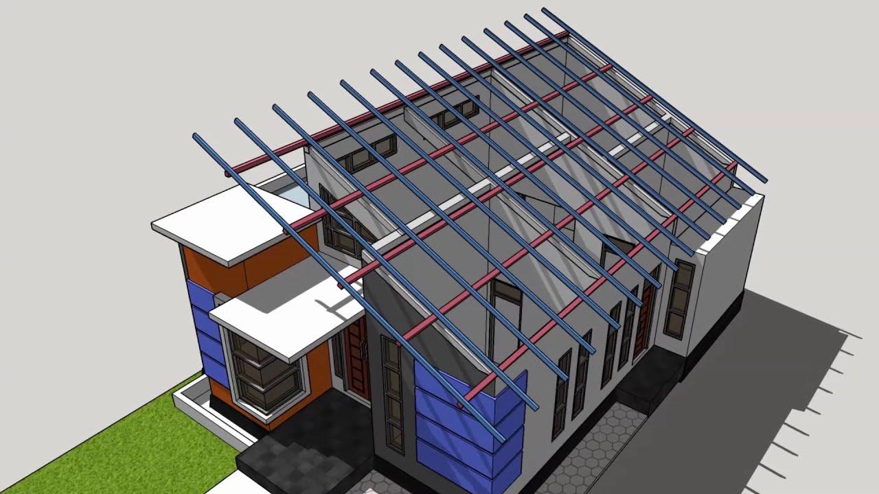 contoh atap baja ringan rumah minimalis konstruksi miring desain am01 youtube