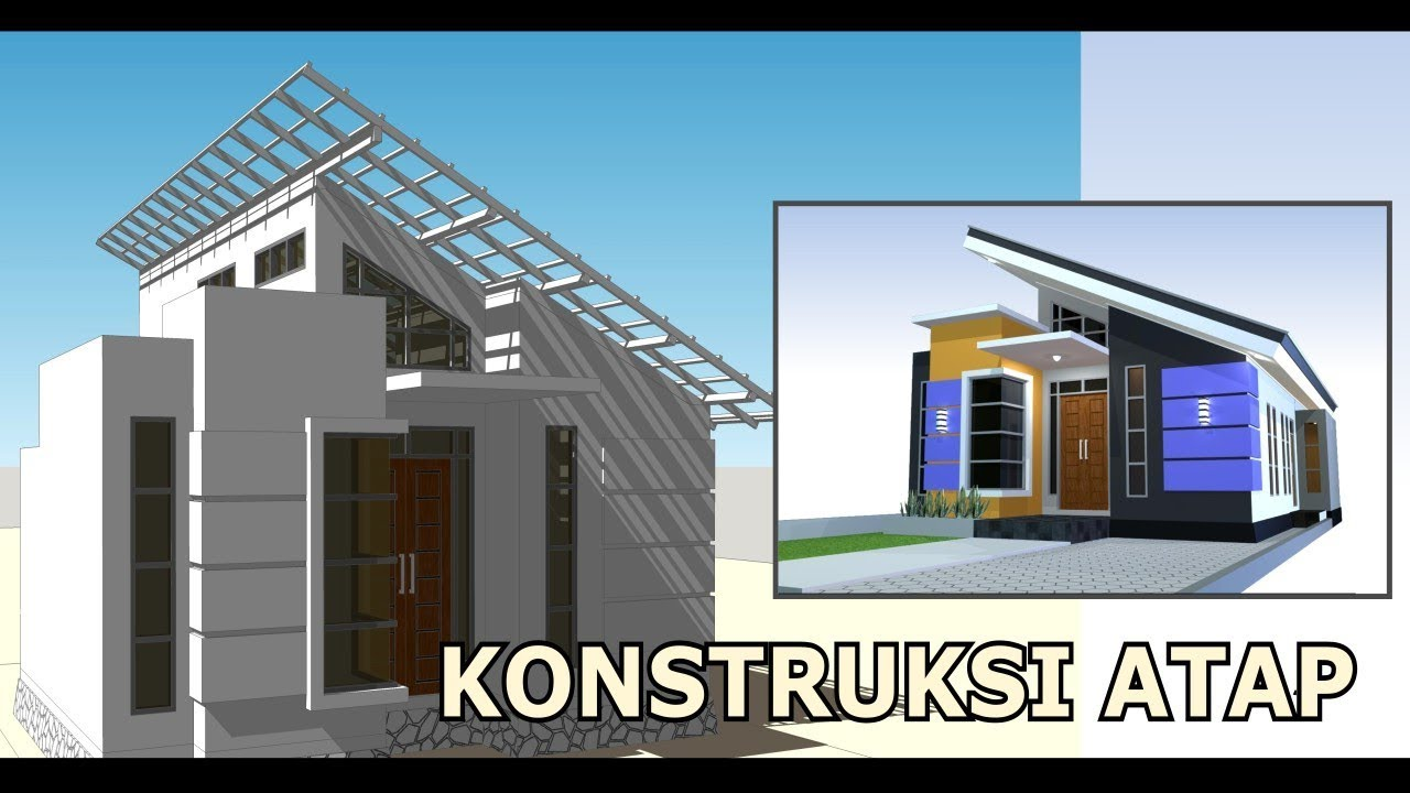 rangka baja ringan atap miring konstruksi desain rumah minimalis am01 youtube