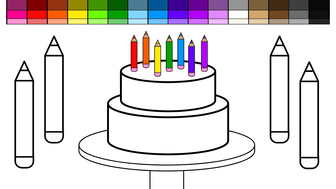 Drawing Cake Colour Learn Colors For Kids And Color Back To School Colored
