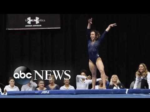 UCLA gymnast's entertaining floor routine