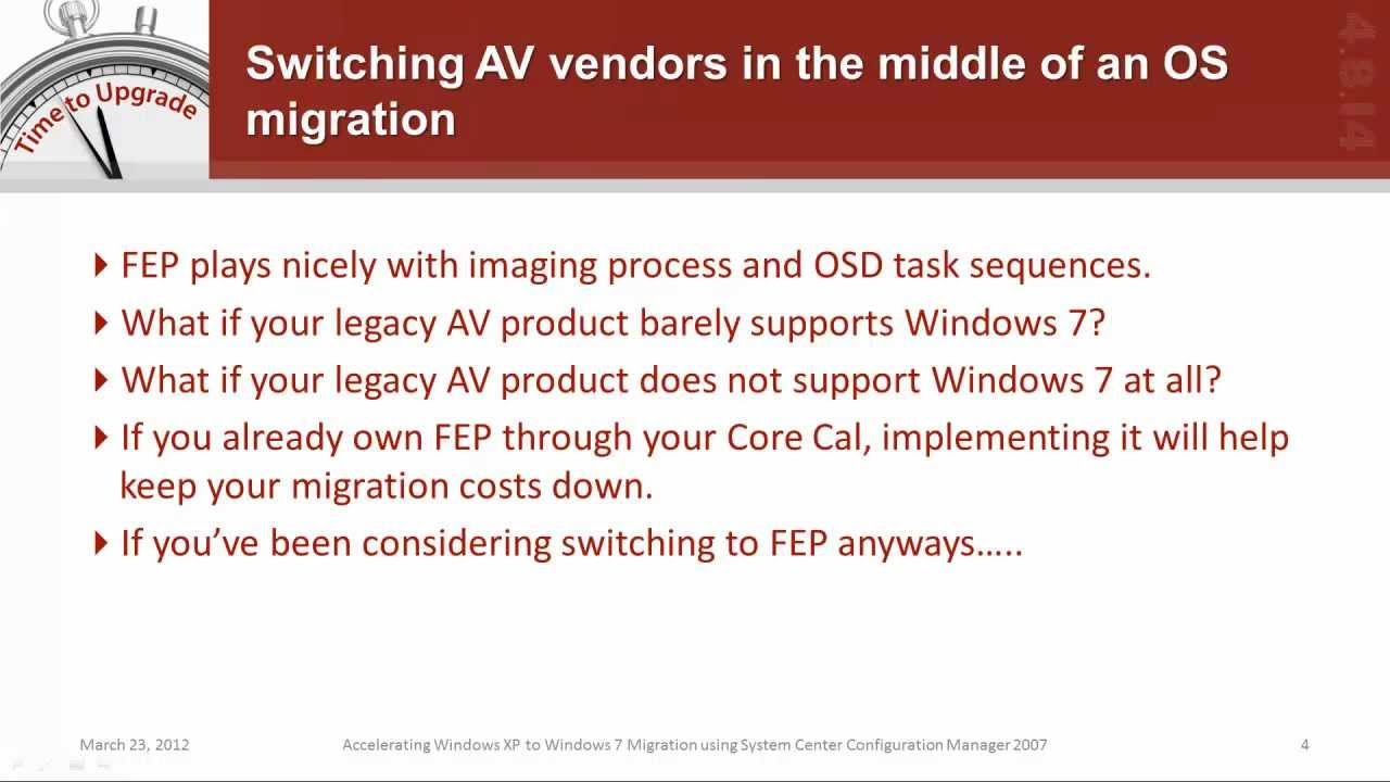Migrate to Forefront Endpoint Protection (FEP) during a Win7 Migration  using SCCM