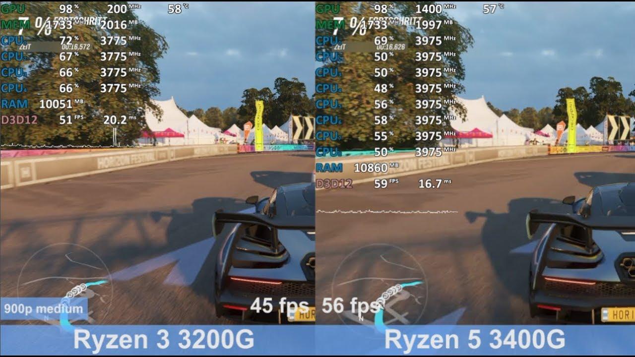 Ryzen 3 3200g Vs Ryzen 5 3400g Vega 8 Vs Vega 11 In 8 Games Benchmark Test Comparison Youtube