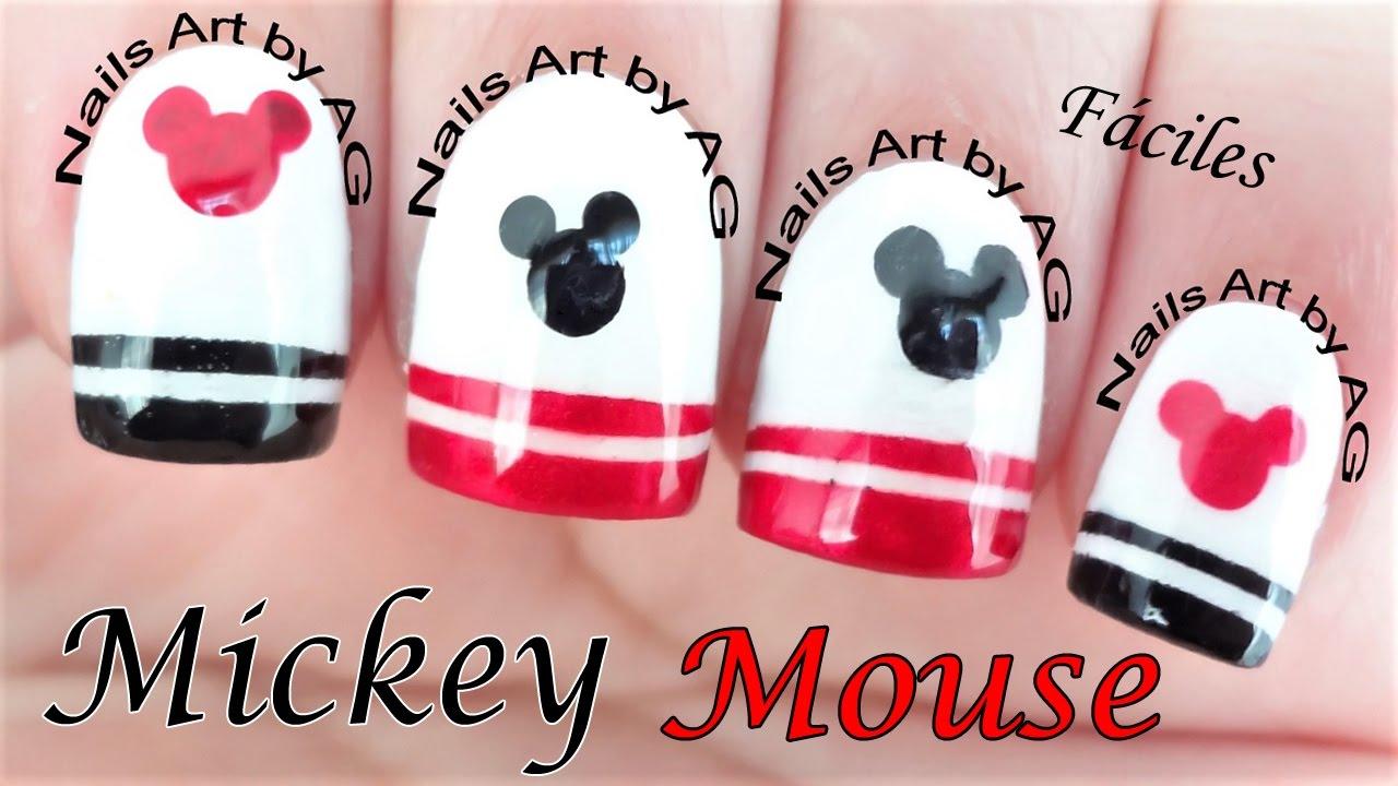 Decoración De Uñas Mickey Mouse Diseño Lindo Y Fácil Youtube