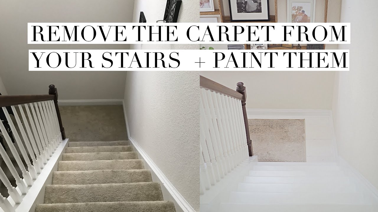 I Removed The Carpet And Painted My Stairs 1 Year Update Youtube   Painted Stairs With Carpet Treads   Carpet Covered   Bare Wood   Design   Carpeting   Charcoal Grey