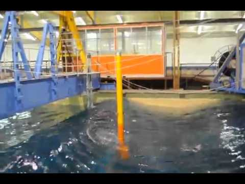 Floating wind turbine   Test of wind turbine model in wave tank