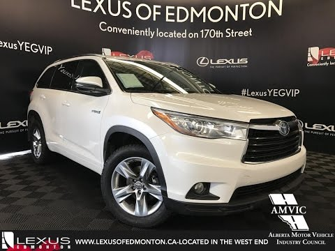 Used White 2017 Toyota Highlander Hybrid Limited Review Drumheller Alberta